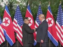 US President Donald Trump meets North Korean leader Kim Jong Un at Sentosa Island