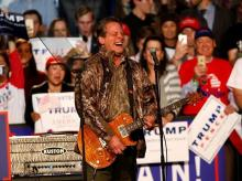 Musician and political activist Ted Nugent performs at a campaign rally for President Donald Trump