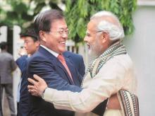 Prime Minister Narendra Modi with South Korean President Moon-Jae in
