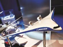 A model of a concept passenger aircraft on the Boeing stand at Farnborough International Airshow