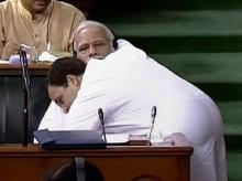 Rahul Gandhi seen hugging Modi in No Confidence Motion in Parliament. (Photo: PTI)