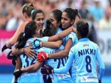 India's women hockey team celebrating after scoring a goal against Indonesia (File Photo: Doordarshan)