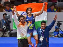 India's Vinesh Phogat celebrates after winning the Gold medal in women's freestyle 50 kg wrestling at the Asian Games 2018, in Jakarta. File photo: PTI