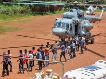 Indian Navy supplies Food and materials to the flood affected people of Chengannur district of the Kerala, on Wednesday August 22, 2018.