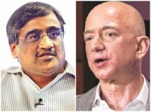 Kishore Biyani, founder & CEO, Future Group (left); Jeff Bezos, CEO, Amazon
