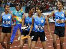 India win Gold in women's 4x400m relay. Photo: Reuters