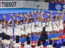 Silver medal winning Indian women's hockey team celebrates during the medal ceremony at the 18th Asian Games 2018, in Jakarta. Photo: PTI