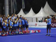 Asian Games 2018, India Hockey Team after medal ceremony