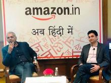 Manish Tiwary, Vice President, Category Management, and Kishore Thota, Director, Customer Experience and Marketing, announce the launch of Amazon.in's shopping experience in Hindi