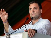 Congress President Rahul Gandhi addresses a public meeting in Raipur, Chhattisgarh, on Monday | Photo: PTI