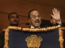 NSA Ajit Doval gestures during his speech at Sardar Patel Memorial Lecture 2018, in New Delhi on Thursday | Photo: PTI