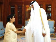 Sushma Swaraj, Tamim Bin Hamad Al-Thani