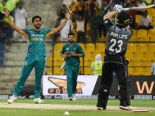 Pakistan's Hasan Ali celebrate after taking a wicket against a T20I match against New Zealand in Abu Dhabi on Wednesday, October 31, 2018. Photo: Twitter @TheRealPCB