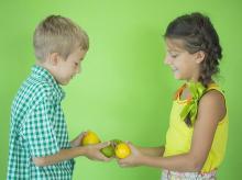 barter system, barter, fruits, children, child