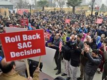 jammu and Kashmir Bank, J-K bank, SAC, bank employees protest, Kashmir bank