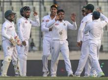 Mehidy ran through the line-up to finish with seven wickets as the visitors are bowled out for 111, well behind Bangladesh's first-innings 506. Photo: Twitter
