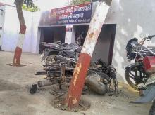 The police chowki which was attacked by the mob in Monday's violent protests over the alleged illegal slaughter of cattle, in Bulandshahr | Photo: PTI
