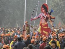 ram mandir, ram temple, ram mandir protest, VHP protest, ramlila maidan, ramlila ground, rss, vhp, dharma sansad, dharma sabha