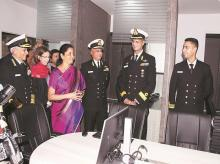 Defence minister Nirmala Sitharaman, addresses an audience that included the envoys to New Delhi of several  global powers and regional countries. They were invited to join an international version of IMAC called the Information Fusion Centre for the