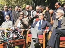 (From left) Justice Madan B Lokur with Chief Justice Rajan Gogoi and Justices J Chelameswar and Kurien Joseph