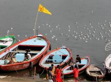 Boats are seen docked at Assi Ghat during a protest by boatmen against the newly-inaugurated cruise services which they claimed hampers their livelihood, in Varanasi, Friday