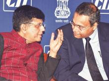 Union Railways and Coal Minister Piyush Goyal with Tata Chemicals MD R Mukundan during a workshop on 'Jobs and Livelihoods' in Mumbai on Saturday. Photo: PTI