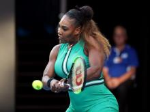 Australian Open - Serena Williams of the U.S. in action during the match against Romania's Simona Halep
