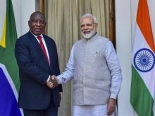 Prime Minister Narendra Modi greets South African President Cyril Ramaphosa prior to a meeting at Hyderabad House, in New Delhi