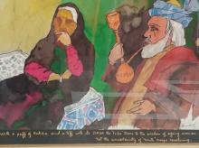 An untitled print signed by M F Husain himself, with handwritten line within quotes