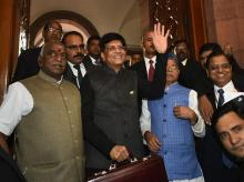 Finance Minister Piyush Goyal with MoS Finance minister Shiv Pratap Shukla  arrives in the Parliament to present the interim Budget 2019-20