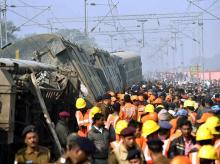 Rescue and relief works in progress after the nine coaches of Delhi-bound Seemanchal Express derailed at Sahadai Buzurg  station in Hajipur