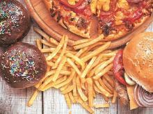 food, fries, burger