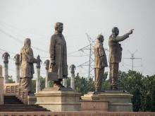 A view of former Uttar Pradesh chief minister Mayawati's statues among others at Dalit Prerna Sthal, in Noida