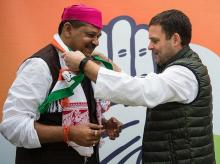 Kirti Azad joins Congress party in presence of Congress President Rahul Gandhi | Photo: ANI