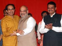 Uddhav Thackeray, Amit Shah  and Devendra Fadnavis  at a press conference in Mumbai