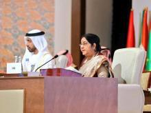 Sushma Swaraj speaking at OIC meet | Photo: Twitter@MEAIndia