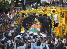 Mortal remains of Goa Chief Minister Manohar Parrikar being taken to BJP office from his residence, in Panaji, Monday, March 18, 2019