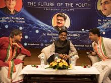 (From left) Shashi Tharoor with Kerala AIPC President Mathew Kuzhalnadan and Rajasthan Deputy Chief Minister Sachin Pilot