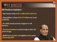 BJP manifesto highlights: Rs 25-trn agri push, pension for small traders