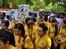 Jet Airways employes at a peaceful demonstration at Jantar Mantar in New Delhi on Thursday | Photo: Sanjay K Sharma