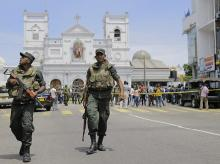 Sri Lankan Army soldiers secure the area around St. Anthony's Shrine after a blast in Colombo, Sri Lanka, Sunday, April 21, 2019. A Sri Lanka hospital spokesman says several blasts on Easter Sunday have killed dozens of people | Photo: AP/PTI