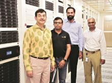 (From left) Jayesh Ranjan, principal secretary, IT and commerce, Telangana, Rajneesh Kumar, chief corporate affairs officer, Flipkart, Sridhar Pinnapureddy, CEO, CtrlS, and Srinivasulu Grandhi, vice-president (engineering), Flipkart,  at the opening