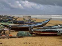 Fishing boats anchored at Gopalpur beach, in Ganjam