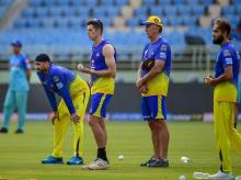 Chennai Super Kings during practice session. Photo: PTI