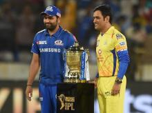 CSK and MI captain MS Dhoni, Rohit Sharma with IPL 2019 trophy. File Photo: PTI