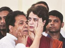 Congress General Secretary Priyanka Gandhi Vadra and leader Rajeev Shukla during the party President Rahul Gandhi's press conference following the Lok Sabha polls results, at AICC headquarters in New Delhi on Thursday   Photo: PTI
