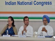 Sonia Gandhi, Rahul Gandhi and former PM ManMohan Singh at CWC meeting in New Delhi | Photo : Sanjay.K.Sharma