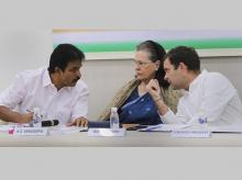 ongress President Rahul Gandhi with senior party leader Sonia Gandhi and KC Venugopal at the Congress Working Committee (CWC) meeting, in New Delhi | Photo: PTI