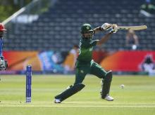 Bristol: Pakistan's Babar Azam, right, bats as Afghanistan's Mohammad Shahzad watches during the Cricket World Cup Warm up match at The Bristol County Ground in Bristol, England Friday May 24, 2019 AP/PTI Photo(