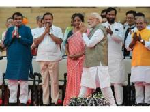 Prime Minister Narendra Modi being greeted by the NDA leaders as he arrives for the swearing-in ceremony at the forecourt of Rashtrapati Bhawan in New Delhi | Photo: PTI